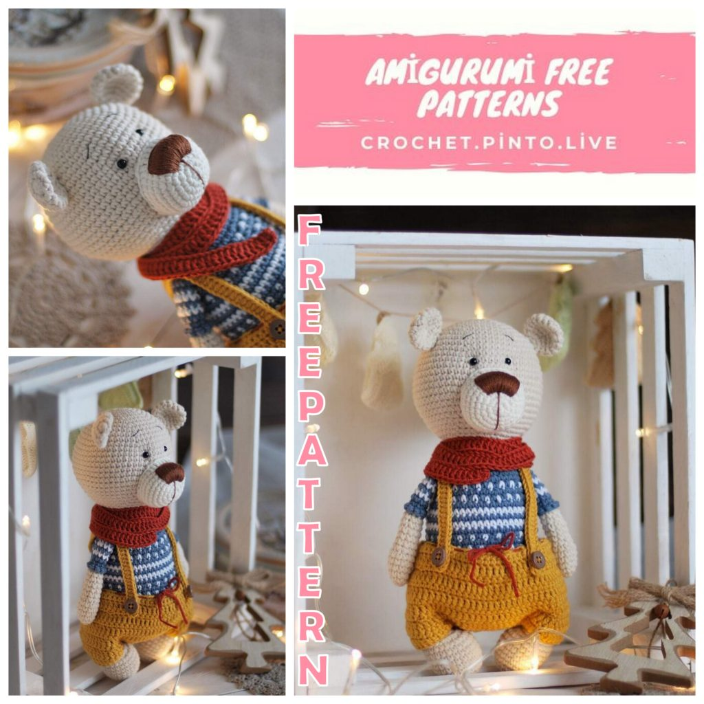 Amigurumi Teddy Bear in Overalls Free Crochet Pattern